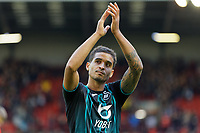 Kyle Naughton of Swansea City thanks away supporters during the Sky Bet Championship match between Barnsley and Swansea City at Oakwell Stadium, Barnsley, England, UK. Saturday 19 October 2019