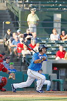 Myrtle Beach Pelicans outfielder Pin-Chieh Chen (5) at bat during a game against the Potomac Nationals at Ticketreturn.com Field at Pelicans Ballpark on May 22, 2015 in Myrtle Beach, South Carolina.  Myrtle Beach defeated Potomac 8-4. (Robert Gurganus/Four Seam Images)