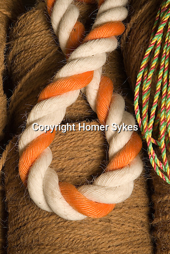 Mark Smith is Ropier at The Historic Dockyard Chatham Kent. Detail of different ropes that they make.