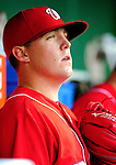 28 August 2010: Washington Nationals pitcher Drew Storen sits in the dugout prior to a game against the St. Louis Cardinals at Nationals Park in Washington, DC. The Nationals defeated the Cards 14-5 to take the third game of their 4-game series. Mandatory Credit: Ed Wolfstein Photo