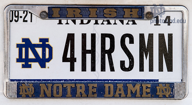 Feb. 18,2014; License Plate, Indiana, &quot;4HHRSMN&quot;<br /> <br /> Photo by Matt Cashore/University of Notre Dame