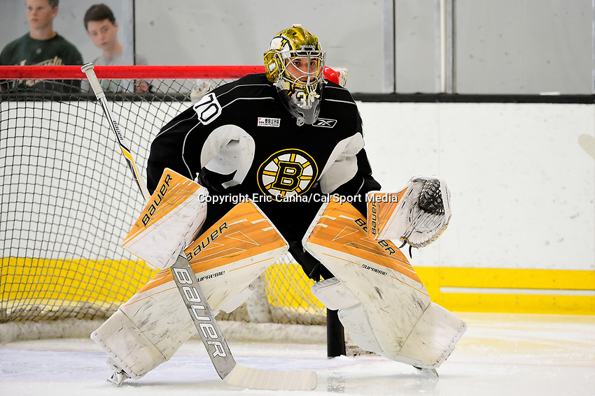 July 7, 2017: Boston Bruins goalie Dan VlAdar (70) tends the net during the Boston Bruins development camp held at Warrior Ice Arena in Brighton, Massachusetts. Eric Canha/CSM