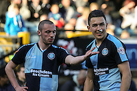 Michael Harriman of Wycombe Wanderers and Luke O'Nien of Wycombe Wanderers during the Sky Bet League 2 match between Wycombe Wanderers and Mansfield Town at Adams Park, High Wycombe, England on 25 March 2016. Photo by David Horn.