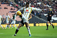 Kieran Agard of MK Dons and James Pearson of Macclesfield Town during MK Dons vs Macclesfield Town, Sky Bet EFL League 2 Football at stadium:mk on 17th November 2018