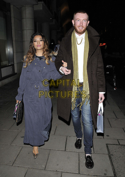 LONDON, ENGLAND - OCTOBER 21: Vanessa White &amp; guest attend the Myla luxury lingerie brand 15th anniversary party, The House of Myla, Stratton St., on Tuesday October 21, 2014 in London, England, UK. <br /> CAP/CAN<br /> &copy;Can Nguyen/Capital Pictures
