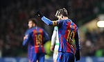 Lionel Messi of Barcelona celebrates after he scores a penalty during the Champions League match at Celtic Park, Glasgow. Picture Date: 23rd November 2016. Pic taken by Lynne Cameron/Sportimage