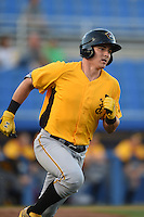 Bradenton Marauders catcher Reese McGuire (7) runs to first during a game against the Dunedin Blue Jays on April 14, 2015 at Florida Auto Exchange Stadium in Dunedin, Florida.  Bradenton defeated Dunedin 7-1.  (Mike Janes/Four Seam Images)