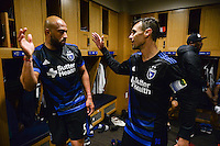 San Jose, CA - Saturday, March 04, 2017: Victor Bernardez, Chris Wondolowski after a Major League Soccer (MLS) match between the San Jose Earthquakes and the Montreal Impact at Avaya Stadium.