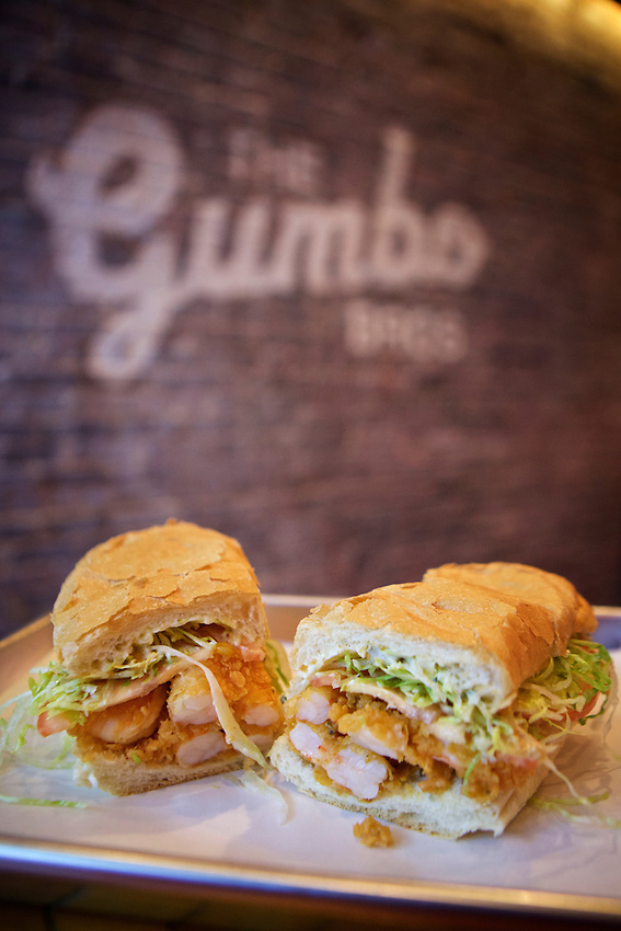 BROOKLYN, NY - January 28, 2017:  The Fried Shrimp Po' Boy at The Gumbo Bros., a Cajun restaurant in Boerum Hill.<br /> <br />  <br /> Credit: Clay Williams for The New York Times.<br /> <br /> &copy; Clay Williams / http://claywilliamsphoto.com