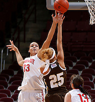 Ohio State Buckeyes center Ashley Adams (33) blocks the shot of Lehigh Mountain Hawks guard Kayla Burton (25) during the second half of the NCAA women's basketball game at Value City Arena on Wednesday, November 27, 2013. (Columbus Dispatch photo by Jonathan Quilter)