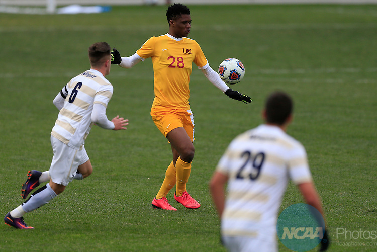 KANSAS CITY, MO - DECEMBER 03:  Illal Osumanu (28) of the University of Charleston collects the ball against Wingate University during the Division II Men's Soccer Championship held at Children's Mercy Victory Field at Swope Soccer Village on December 03, 2016 in Kansas City, Missouri. Wingate beat Charleston 2-0 to win the National Championship. (Photo by Jack Dempsey/NCAA Photos via Getty Images)