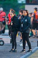 May 31, 2019; Joliet, IL, USA; NHRA top alcohol dragster driver Jasmine Salinas (left) with mother Monica Salinas during qualifying for the Route 66 Nationals at Route 66 Raceway. Mandatory Credit: Mark J. Rebilas-USA TODAY Sports