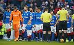 01.12.2019 Rangers v Hearts: James Tavernier leads out the teams