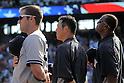 Hiroki Kuroda (Yankees),<br /> JULY 22, 2013 - MLB :<br /> Hiroki Kuroda (C) of the New York Yankees listens to the national anthem before the Major League Baseball game against the Texas Rangers at Rangers Ballpark in Arlington in Arlington, Texas, United States. (Photo by AFLO)