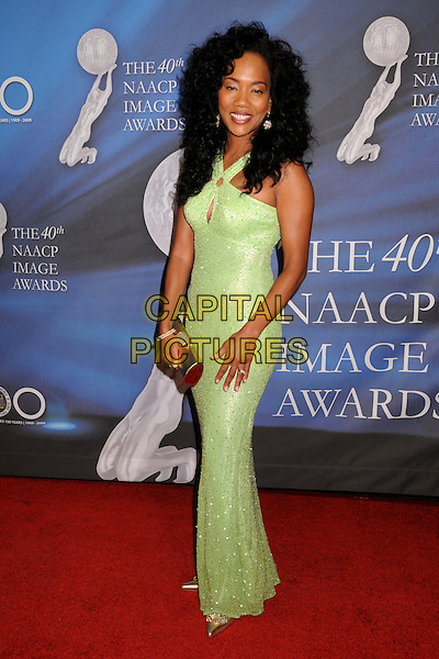 SONJA SOHN.40th Annual NAACP Image Awards - Arrivals at the Shrine Auditorium, Los Angeles, California, USA..February 12th, 2009.full length green long maxi dress gold clutch bag .CAP/ADM/BP.©Byron Purvis/AdMedia/Capital Pictures.