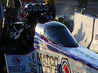 Aug 15, 2014; Brainerd, MN, USA; Detailed view of the canopy on the car of NHRA top fuel dragster driver Antron Brown during qualifying for the Lucas Oil Nationals at Brainerd International Raceway. Mandatory Credit: Mark J. Rebilas-