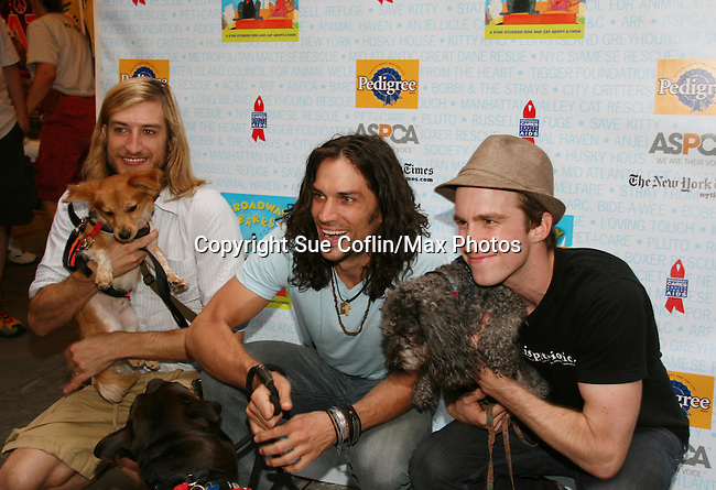 """HAIR cast - Bryce Ryness - Will Swenson and Gavin Creel at Broadway Barks 11 - a """"Pawpular"""" star-studded dog and cat adopt-a-thon on July 11, 2009 in Shubert Alley, New York City, NY. (Photo by Sue Coflin/Max Photos)"""