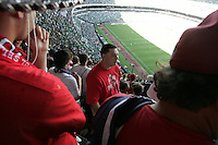 United States Men's National team fans react to their team going down 2-1 to Mexico at Azteca stadium. The United States Men's National Team played Mexico in a CONCACAF World Cup Qualifier match at Azteca Stadium in, Mexico City, Mexico on Wednesday, August 12, 2009.
