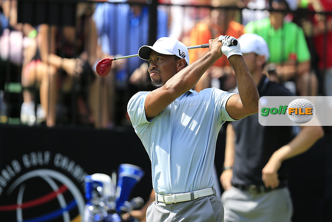 Tiger Woods (USA) tees off the 10th tee during Saturday's Round 3 of the 2013 Bridgestone Invitational WGC tournament held at the Firestone Country Club, Akron, Ohio. 3rd August 2013.<br /> Picture: Eoin Clarke www.golffile.ie