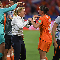 20190703 - LYON , FRANCE : Dutch head coach Sarina Wiegman  pictured celebrating the win with Dutch Sherida Spitse (r) during the female soccer game between Netherlands – Oranje Leeuwinnen - and Sweden  , a knock out game in the semi finals of the FIFA Women's  World Championship in France 2019, Wednesday 3 th July 2019 at the Stade de Lyon  Stadium in Lyon  , France .  PHOTO SPORTPIX.BE | DAVID CATRY