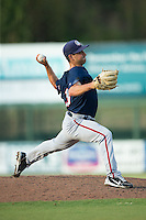 Hagerstown Suns relief pitcher David Napoli (33) in action against the Kannapolis Intimidators at CMC-Northeast Stadium on July 19, 2015 in Kannapolis, North Carolina.  The Suns defeated the Intimidators 9-4.  (Brian Westerholt/Four Seam Images)