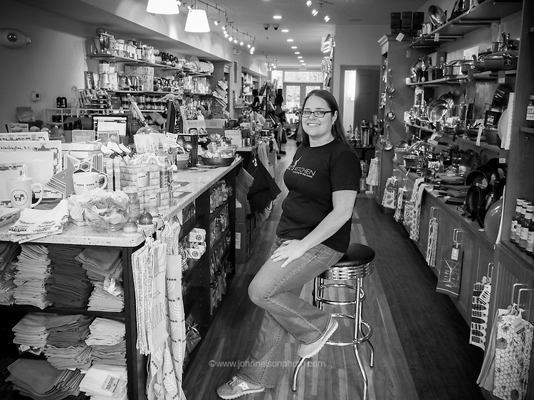 Small business owner Leah Daniels owns and operates Hill's Kitchen, a gourmet kitchenware store near the Eastern Market Metro station in Washington, DC.