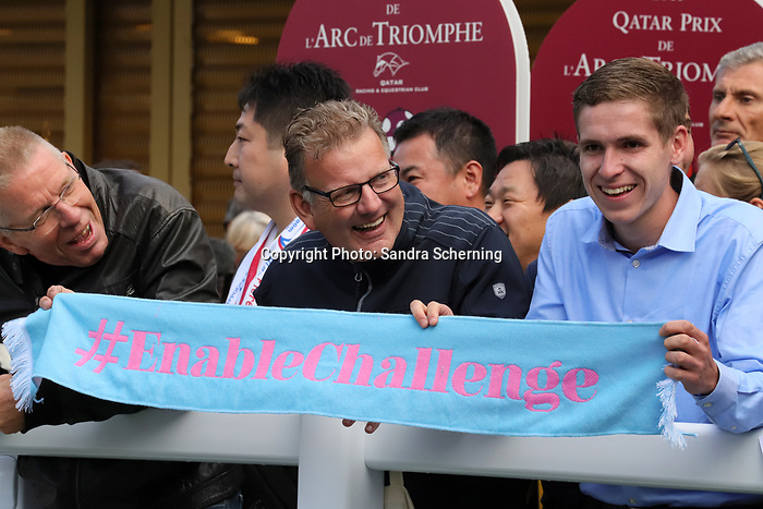 October 06, 2019, Paris (France) - Racing Fans with Enable Scarf on October 6 in ParisLongchamp. [Copyright (c) Sandra Scherning/Eclipse Sportswire)]