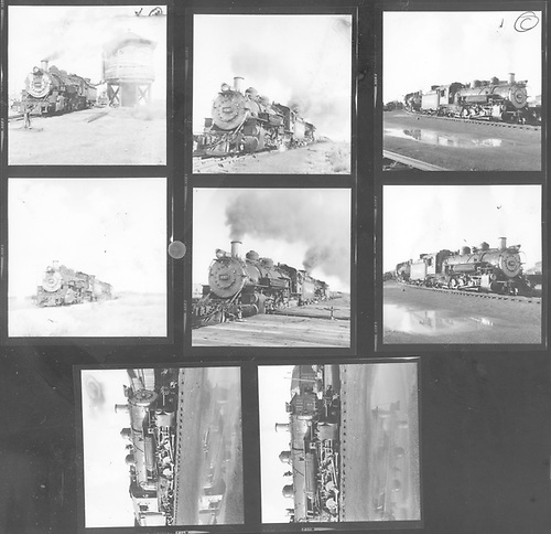 Contact print of 8 2.25&quot;x2.25&quot; images of D&amp;RGW #497 at Alamosa.<br /> D&amp;RGW  Alamosa, CO