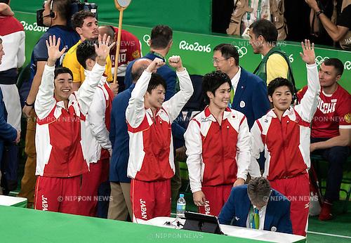 (L-R) Kenzo Shirai, Kohei Uchimura, Ryohei Kato, Koji Yamamuro (JPN),<br /> AUGUST 8, 2016 - Artistic Gymnastics :<br /> Kenzo Shirai, Kohei Uchimura, Ryohei Kato and Koji Yamamuro of Japan celebrate after winning the gold medal in the Men's Team Final at Rio Olympic Arena during the Rio 2016 Olympic Games in Rio de Janeiro, Brazil. (Photo by Enrico Calderoni/AFLO SPORT)