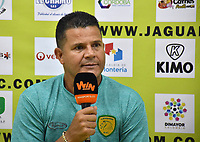 MONTERIA - COLOMBIA, 06-08-2018: Juan Carlos Alvarez, técnico del Leones, durante la rueda de prensa después del partido entre Jaguares de Córdoba y Leones F.C. por la fecha 3 de la Liga Águila II 2018 jugado en el estadio Municipal de Montería. / Juan Carlos Alvarez, coach of Leones, during the press conference after match between Jaguares of Cordoba and Leones F.C. for the date 3 of the Liga Aguila II 2018 at the Municipal de Monteria Stadium in Monteria city. Photo: VizzorImage / Andres Felipe Lopez / Cont