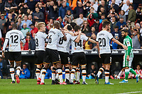 29th February 2020; Mestalla, Valencia, Spain; La Liga Football,Valencia versus Real Betis; Kevin Gameiro of Valencia CF celebrates with his team mates after scoring the first goal for his team in minute 60 for 1-0