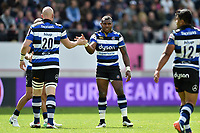 Matt Garvey and Semesa Rokoduguni of Bath Rugby celebrate a second half try. European Rugby Challenge Cup Semi Final, between Stade Francais and Bath Rugby on April 23, 2017 at the Stade Jean-Bouin in Paris, France. Photo by: Patrick Khachfe / Onside Images