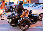 Looking cool in a sidecar and doggles, Venice Beach , California, USA
