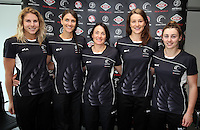 10.12.2015 Silver Ferns Storm Purvis, Anna Harrison, coach Janine Southby, Jess Moulds and Gina Crampton  at a press conference  today in Auckland. Mandatory Photo Credit ©Michael Bradley.