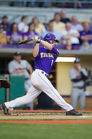 LSU Tigers outfielder Sean McMullen #7 follows through on his swing during the Southeastern Conference baseball game against the Georgia Bulldogs on March 22, 2014 at Alex Box Stadium in Baton Rouge, La. The Tigers defeated the Bulldogs 2-1. (Andrew Woolley/Four Seam Images)