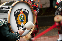 Halton Regional police pipe band rehearse before a parade in Ottawa Sunday September 26, 2010.