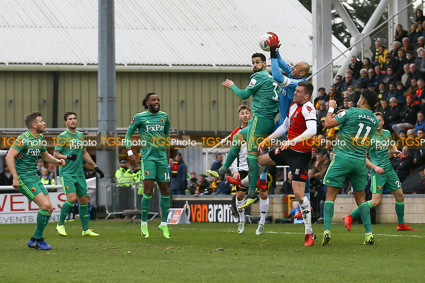 Heurelha Gomes of Watford makes a save during Woking vs Watford, Emirates FA Cup Football at The Laithwaite Community Stadium on 6th January 2019