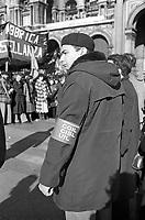 Milano, servizio d'ordine degli operai per i funerali del giudice Emilio Alessandrini assassinato da un commando di Prima Linea il 29 Gennaio 1979.<br /> Milan, security service of the workers for the funeral of judge Emilio Alessandrini shot down by terrorists on January 29, 1979.