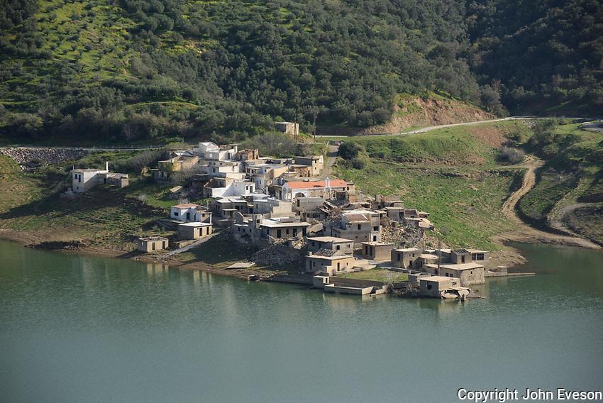 Sunken village of Sfendili, Hersonissos, Crete.  Aposelemis Dam.