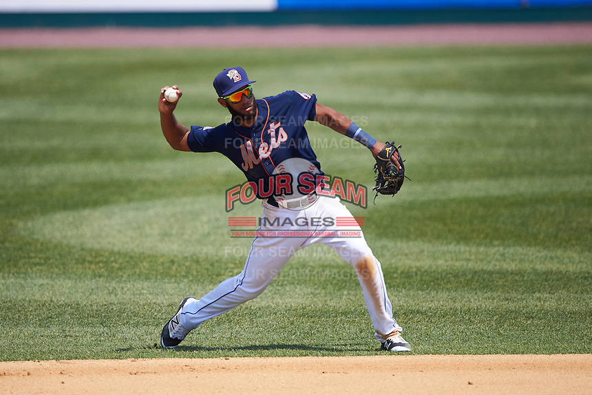 Binghamton Mets shortstop Amed Rosario (1) throws to first during a game against the Richmond Flying Squirrels on June 26, 2016 at NYSEG Stadium in Binghamton, New York.  Binghamton defeated Richmond 7-2.  (Mike Janes/Four Seam Images)