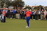 Alex Smalley (USA) on the 17th during Day 2 Singles at the Walker Cup, Royal Liverpool Golf CLub, Hoylake, Cheshire, England. 08/09/2019.<br /> Picture Thos Caffrey / Golffile.ie<br /> <br /> All photo usage must carry mandatory copyright credit (© Golffile | Thos Caffrey)