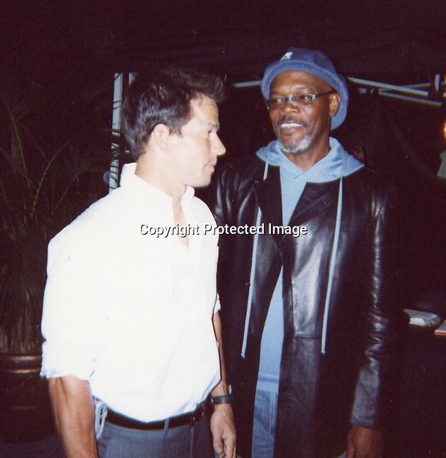 **EXCLUSIVE**.Mark Whalberg & Samuel L. Jackson.2003 MTV Movie Awards- Backstage.Saturday, May 31, 2003.Shrine Auditorium.Los Angeles, CA.Photo By Celebrityvibe.com/Photovibe.com
