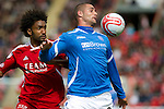Aberdeen v St Johnstone... 23.07.11   SPL Week 1.New saints signing Marcus Haber fends off Youl Mawene.Picture by Graeme Hart..Copyright Perthshire Picture Agency.Tel: 01738 623350  Mobile: 07990 594431