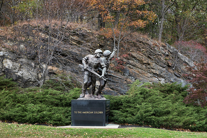 Bronze sculpture tribute to the American Soldiier, West Point Military Academy, New York, USA