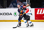 Stockholm 2014-08-21 Ishockey CHL Djurg&aring;rdens IF - Fribourg-Gotteron  :  <br /> Djurg&aring;rdens Mikael Samuelsson uppvaktas av Fribourg-Gotterons Michael Ngoy<br /> (Foto: Kenta J&ouml;nsson) Nyckelord:  Djurg&aring;rden Hockey Hovet CHL Fribourg Gotteron jubel gl&auml;dje lycka glad happy