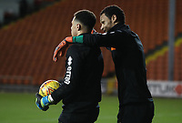 Blackpool's Christoffer Mafoumbi and Blackpool's Myles Boney<br /> <br /> <br /> Photographer Rachel Holborn/CameraSport<br /> <br /> The EFL Checkatrade Trophy Group C - Blackpool v Accrington Stanley - Tuesday 13th November 2018 - Bloomfield Road - Blackpool<br />  <br /> World Copyright © 2018 CameraSport. All rights reserved. 43 Linden Ave. Countesthorpe. Leicester. England. LE8 5PG - Tel: +44 (0) 116 277 4147 - admin@camerasport.com - www.camerasport.com