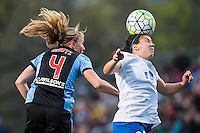 Allston, MA - Saturday, May 07, 2016: Chicago Red Stars midfielder Alyssa Mautz (4) and Boston Breakers defender Mollie Pathman (20) during a regular season National Women's Soccer League (NWSL) match at Jordan Field.