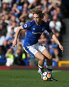 9th September 2017, Goodison Park, Liverpool, England; EPL Premier League Football, Everton versus Tottenham; Tom Davies of Everton looks up for a team mate as he brings the ball out of defence