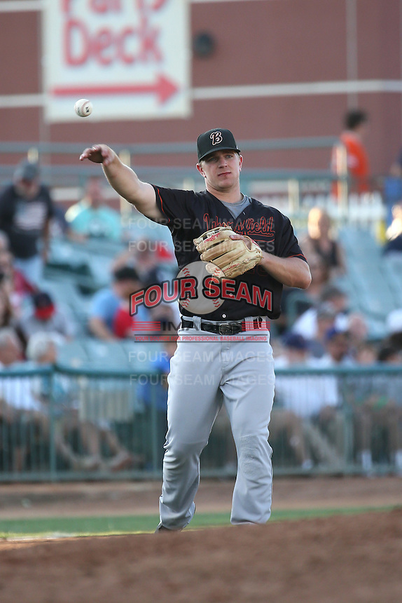 Joe DeCarlo (10) of the Bakersfield Blaze makes a throw during a game against the Lancaster JetHawks at The Hanger on June 18, 2016 in Lancaster, California. Bakersfield defeated Lancaster, 10-7. (Larry Goren/Four Seam Images)