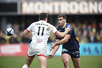 11th January 2020, Parc des Sports Marcel Michelin, Clermont-Ferrand, Auvergne-Rhône-Alpes, France; European Champions Cup Rugby Union, ASM Clermont versus Ulster;  Damian Penaud (asm)  passes off before contact with Jacon Stockdale